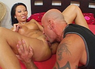 Asian-slut-has-her-shaved-pussy-licked-and-fucked-doggie...